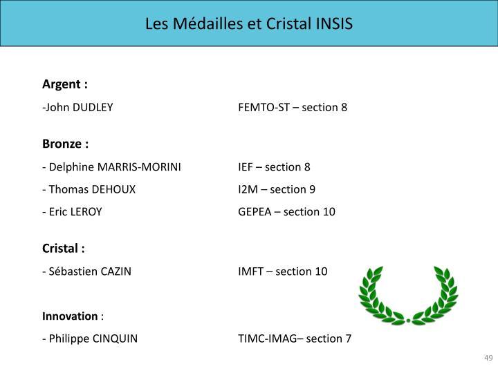 Les Médailles et Cristal INSIS