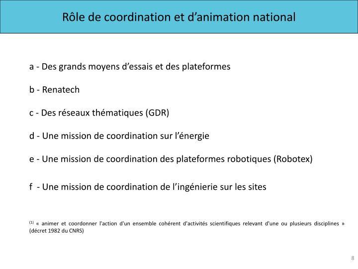 Rôle de coordination et d'animation national