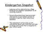 kindergarten snapshot