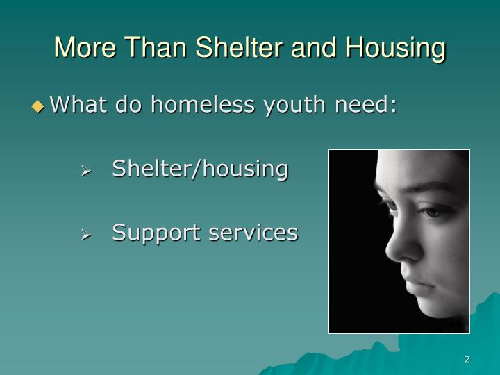 More Than Shelter and Housing