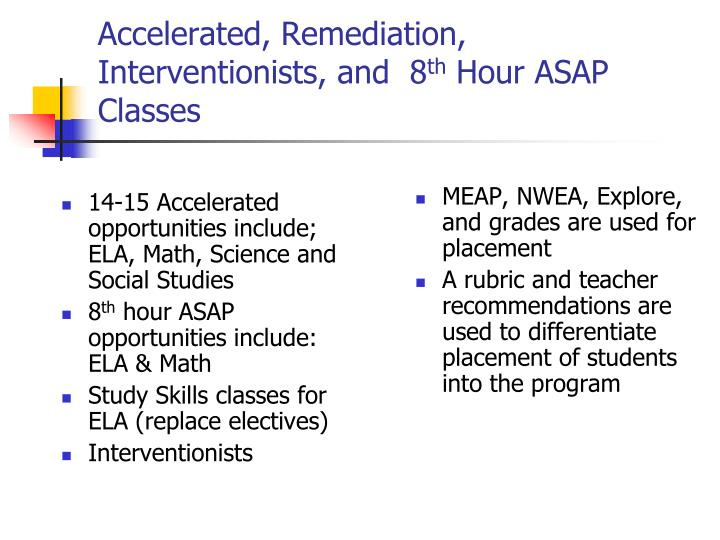 14-15 Accelerated opportunities include; ELA, Math, Science and Social Studies