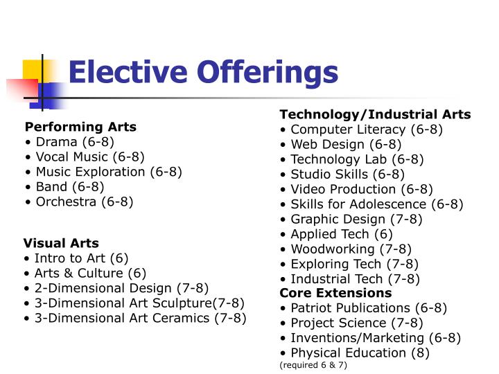 Elective Offerings