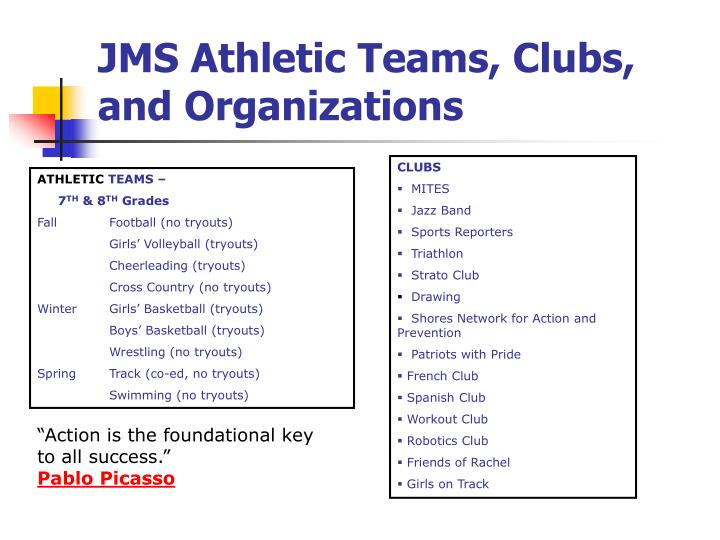 JMS Athletic Teams, Clubs, and Organizations
