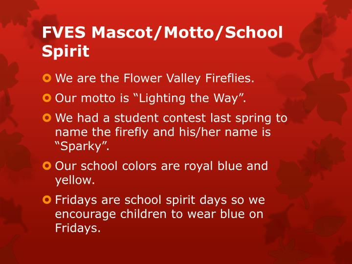 FVES Mascot/Motto/School Spirit