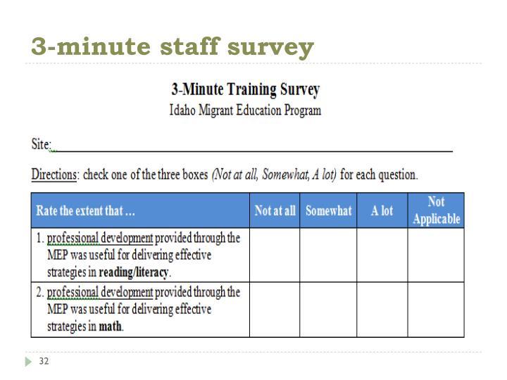 3-minute staff survey