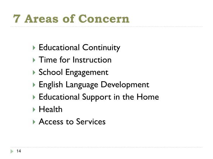 7 Areas of Concern
