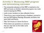 activity 3 measuring mep progress and determining outcomes