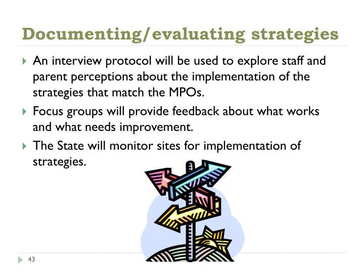Documenting/evaluating strategies