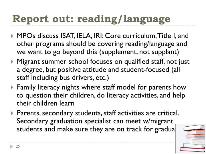 Report out: reading/language