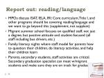 report out reading language