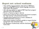 report out school readiness