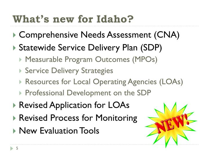What's new for Idaho?