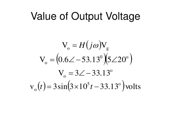 Value of Output Voltage