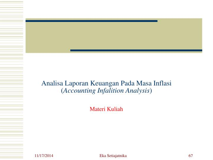 Analisa Laporan Keuangan Pada Masa Inflasi