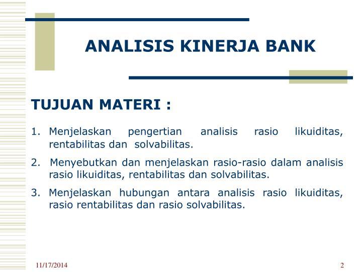 ANALISIS KINERJA BANK