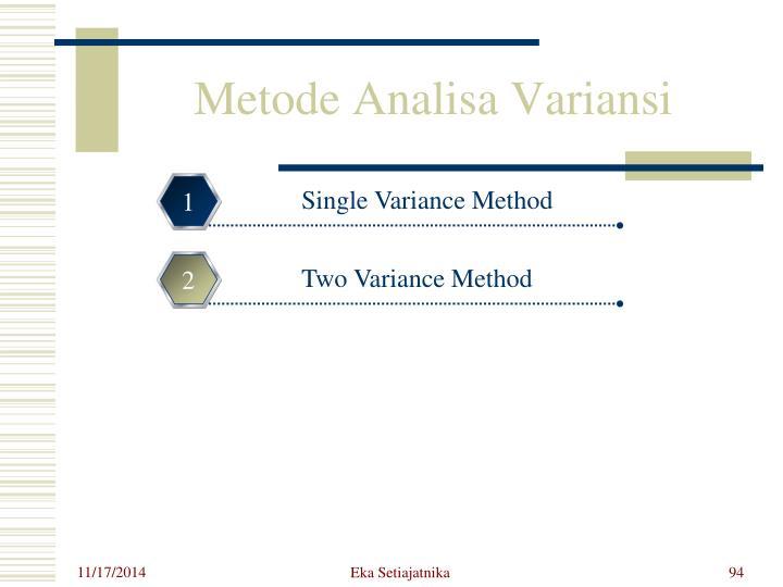 Metode Analisa Variansi