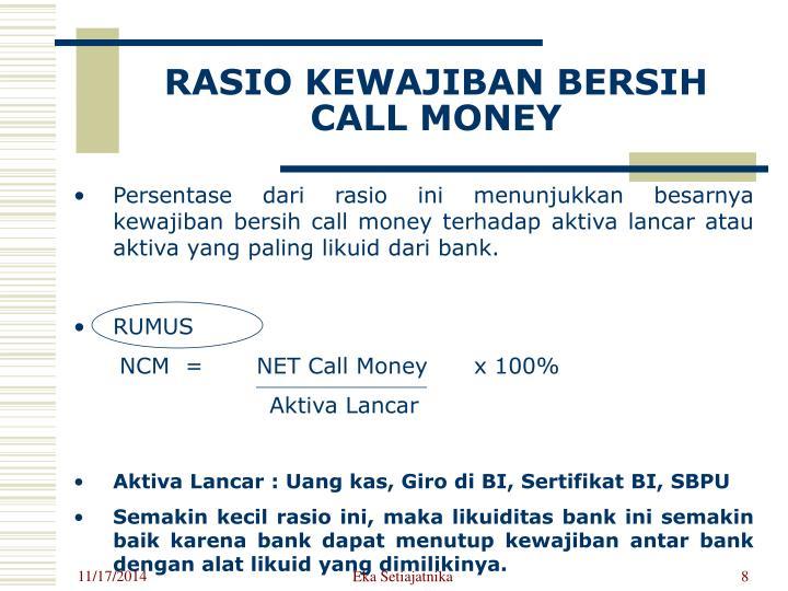 RASIO KEWAJIBAN BERSIH CALL MONEY