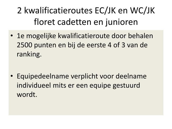 2 kwalificatieroutes EC/JK en WC/JK floret cadetten en junioren