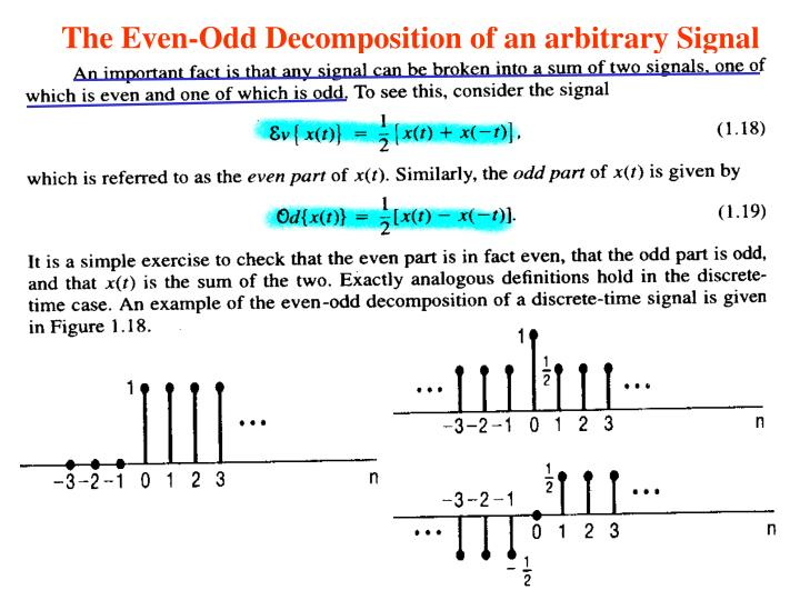 The Even-Odd Decomposition of an arbitrary Signal