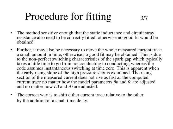 Procedure for fitting