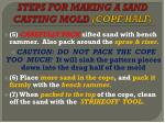 steps for making a sand casting mold cope half1