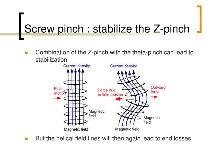 Screw pinch : stabilize the Z-pinch