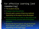 for effective learning and remembering