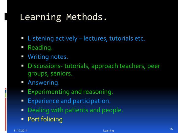 Learning Methods.