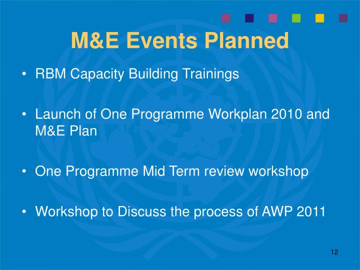 M&E Events Planned