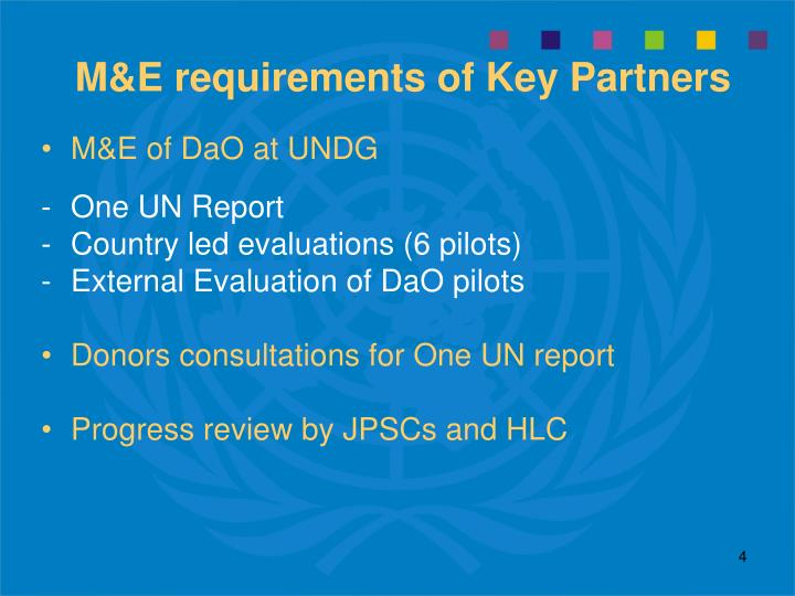 M&E requirements of Key Partners