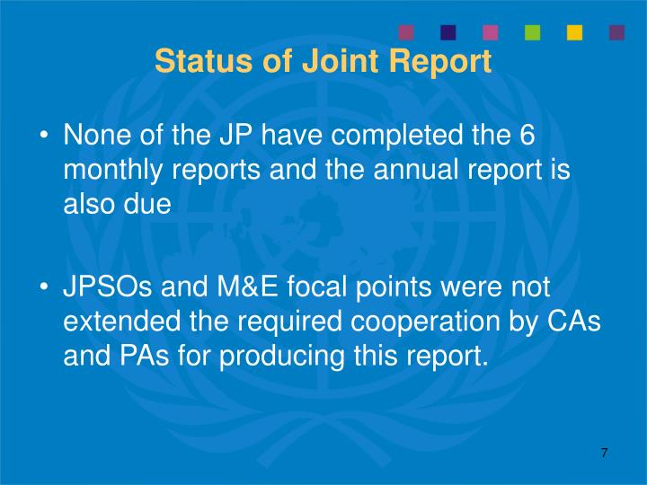 Status of Joint Report