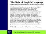 the role of english language teaching linguistic imperialism or linguistic empowerment
