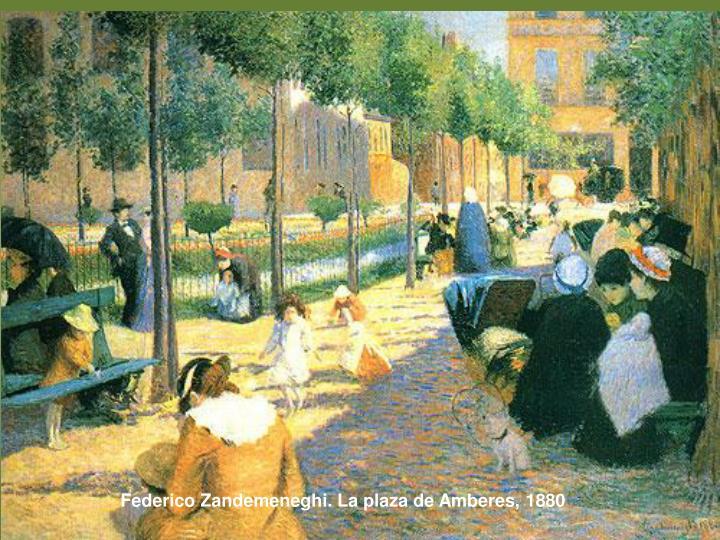 Federico Zandemeneghi. La plaza de Amberes, 1880