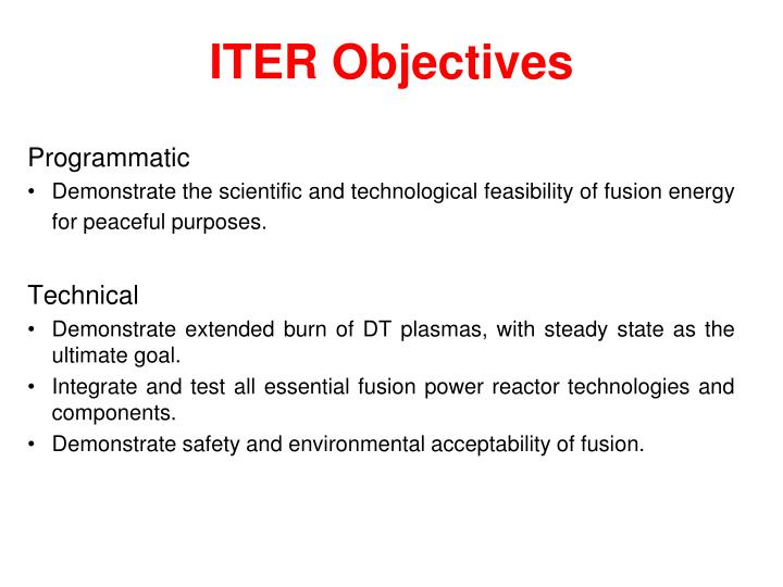 ITER Objectives