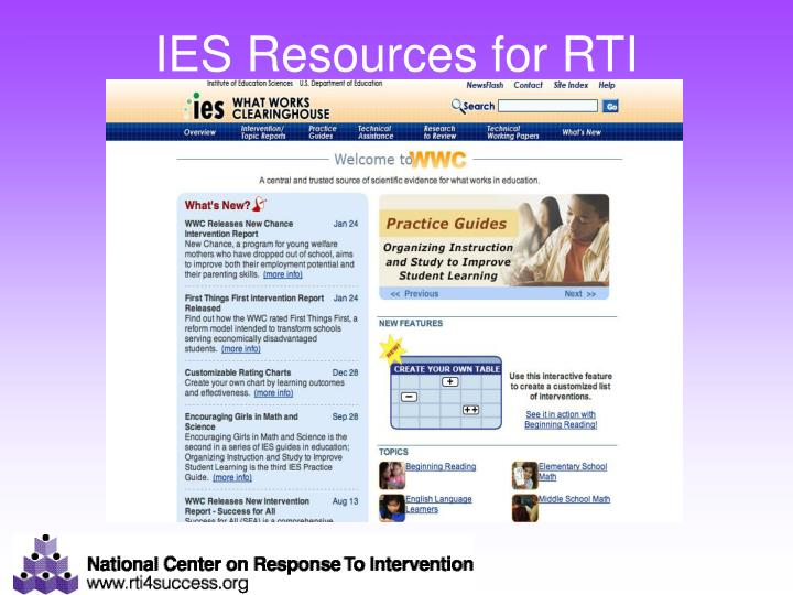IES Resources for RTI