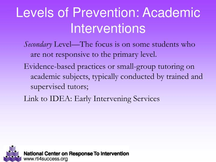 Levels of Prevention: Academic Interventions