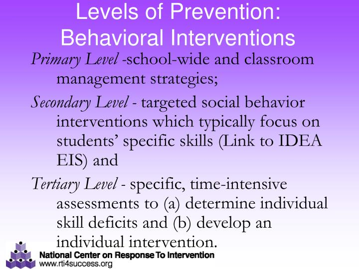 Levels of Prevention: Behavioral Interventions