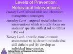levels of prevention behavioral interventions