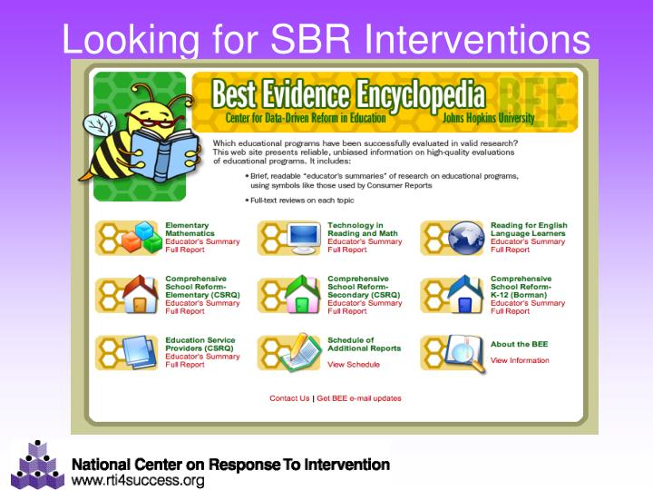 Looking for SBR Interventions