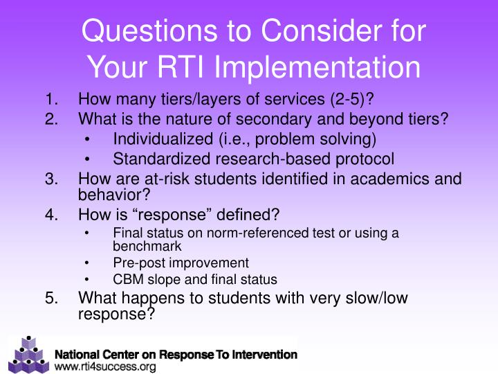 Questions to Consider for Your RTI Implementation