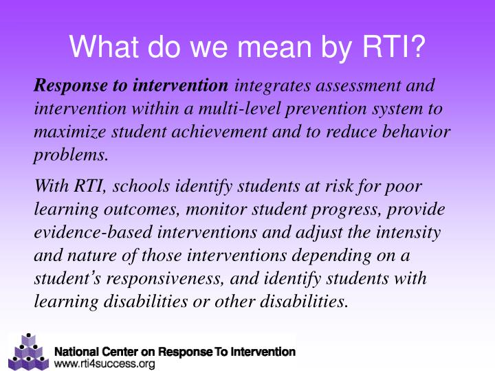 What do we mean by RTI?