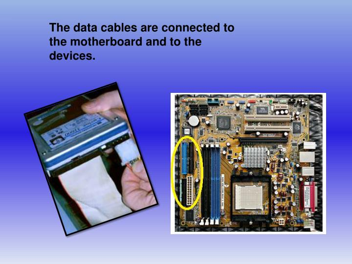 The data cables are connected to the motherboard and