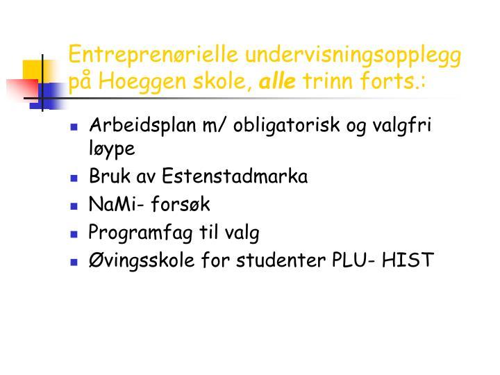 Entreprenørielle undervisningsopplegg på Hoeggen skole,