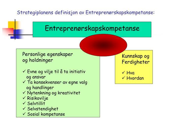 Strategiplanens definisjon av Entreprenørskapskompetanse: