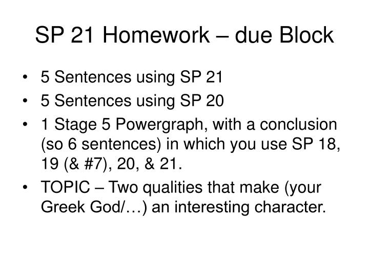SP 21 Homework – due Block