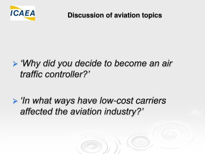 Discussion of aviation topics