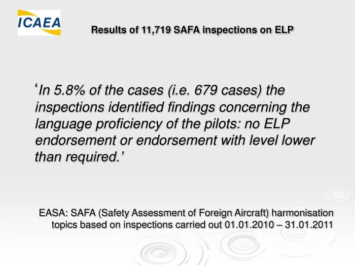 Results of 11,719 SAFA inspections on ELP