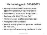verbeteringen in 2014 2015