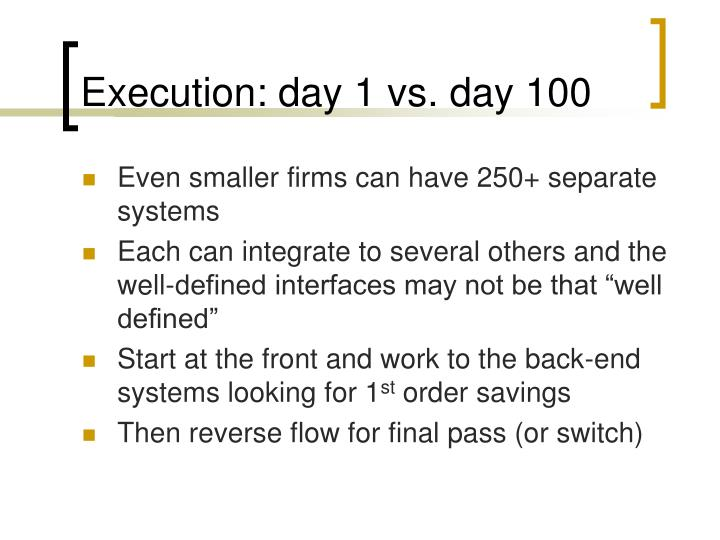 Execution: day 1 vs. day 100