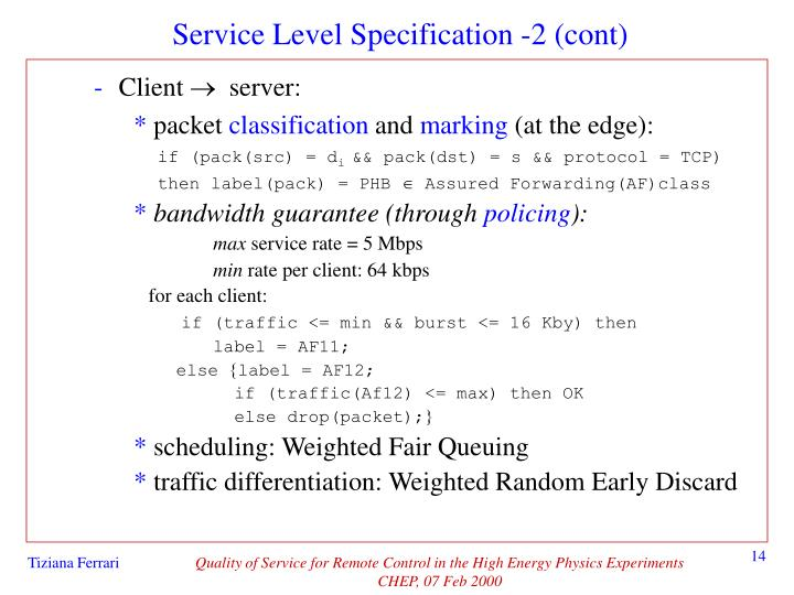 Service Level Specification -2 (cont)